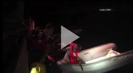 A Coast Guard Station San Juan small boat crew rescue two people after it was reported the sailing vessel Blue Cocktail was taking on water 10 miles north of Manati, Puerto Rico, Dec. 6, 2019.