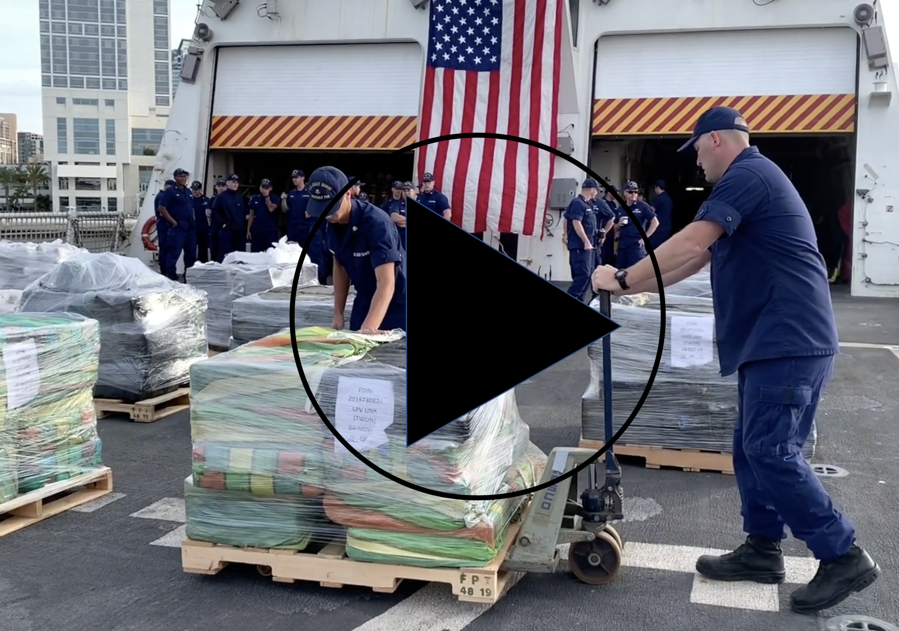 Coast Guard cutter crew offloads 18,000 pounds of cocaine in San Diego