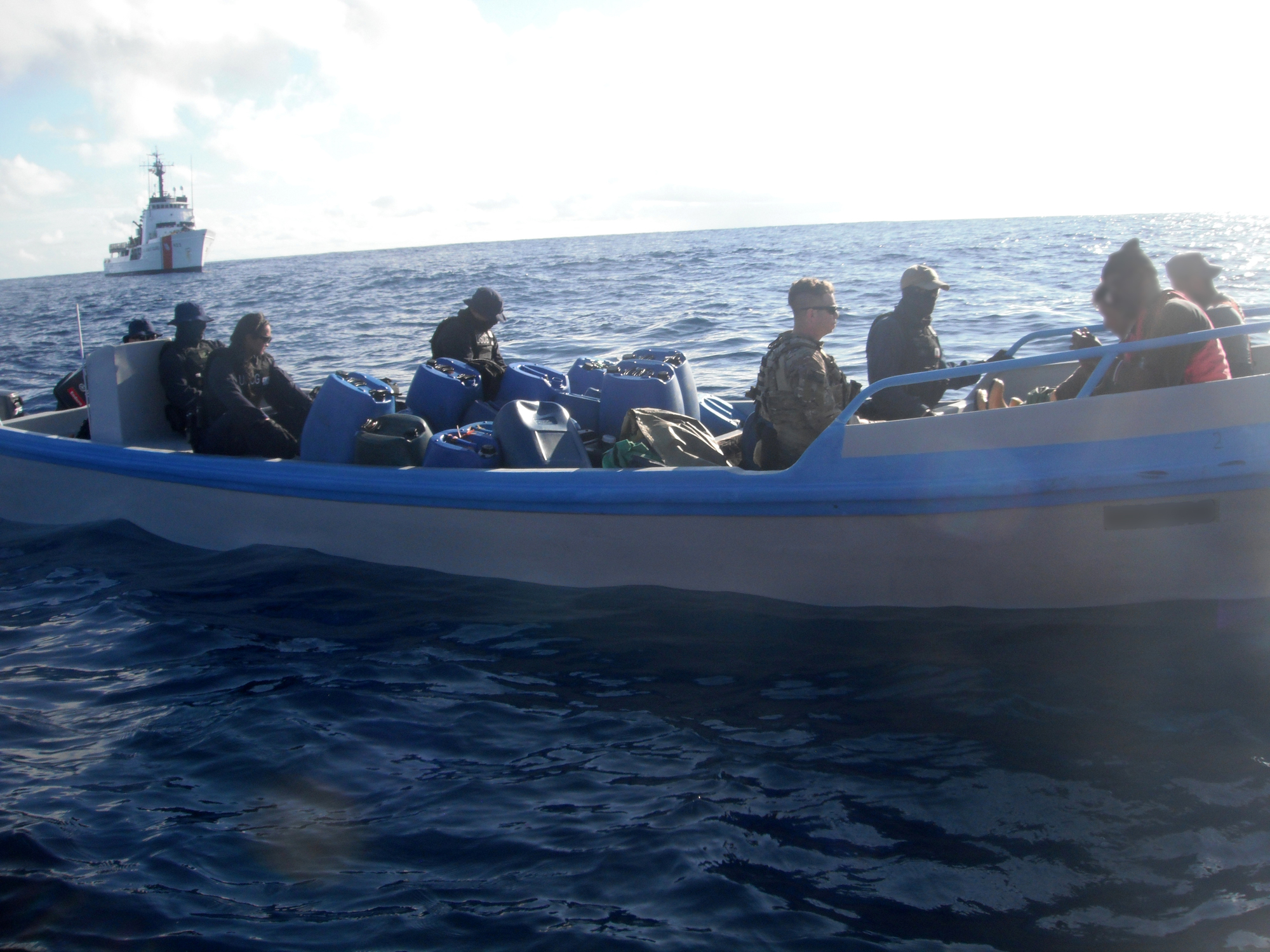 Coast Guard Cutter Steadfast crewmembers interdict suspected smuggling boat in the Eastern Pacific Ocean, seizing more than $21.5M worth of cocaine