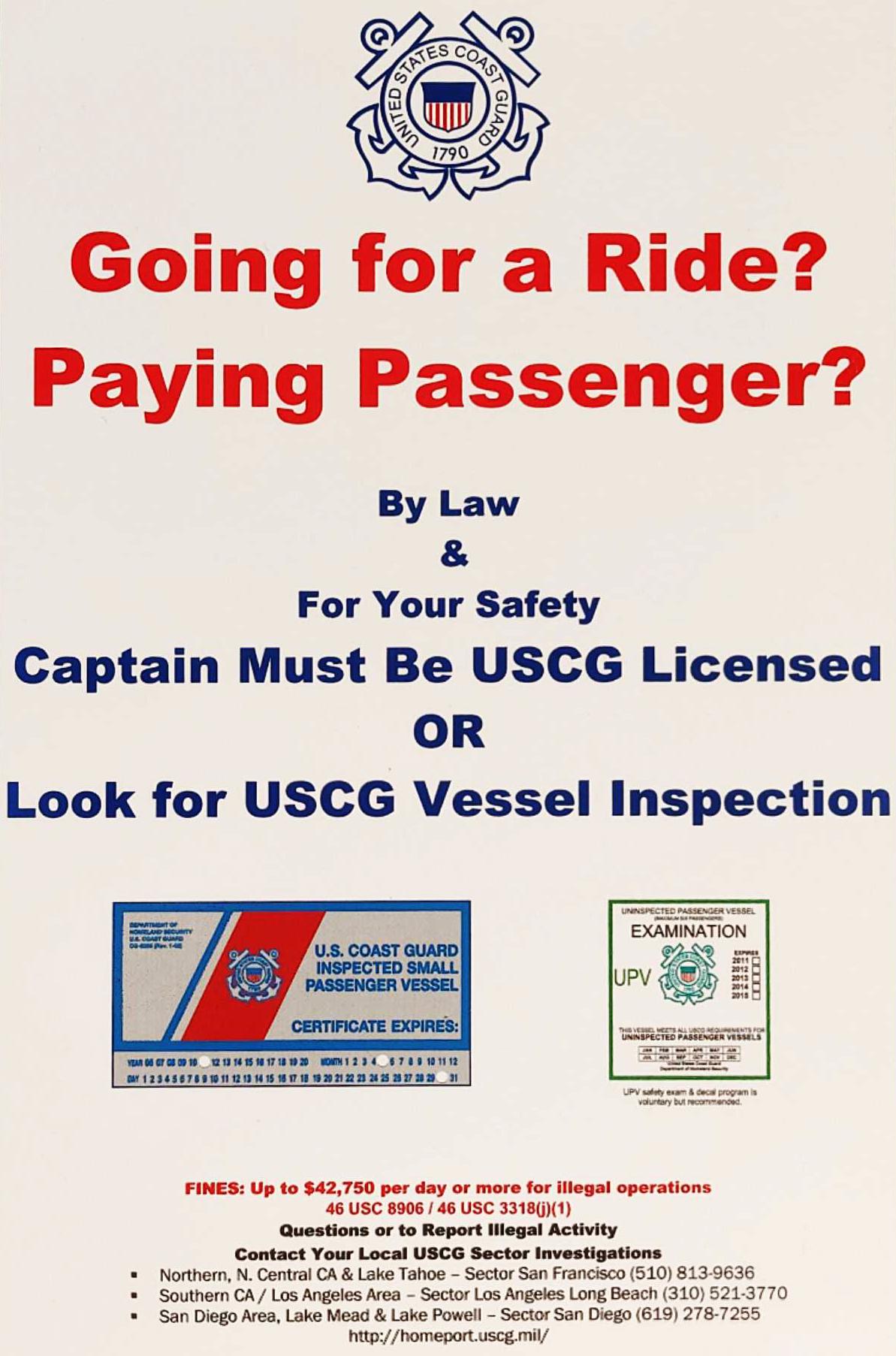 Coast Guard cautions public against illegal charters