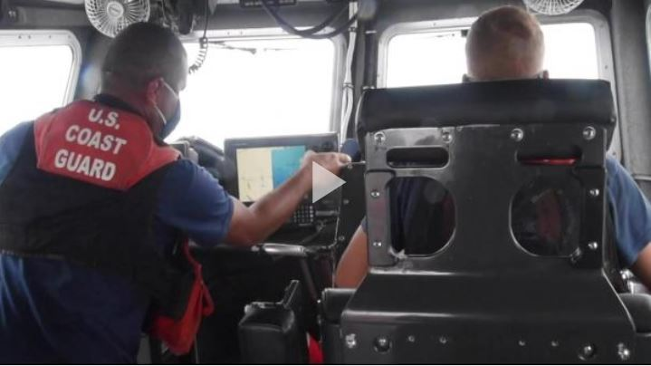 B-roll footage of Coast Guard Station San Juan's 45-foot rescue boat crew riding through 10-foot seas to assist the motor vessel Island Express and of the vessel being escorted into San Juan Harbor, Wednesday, July 29, 2020. Coast Guard Station San Juan and Air Station Borinquen rescue crews assisted the vessel after it started taking on water. (U.S. Coast Guard video by Ricardo Castrodad)