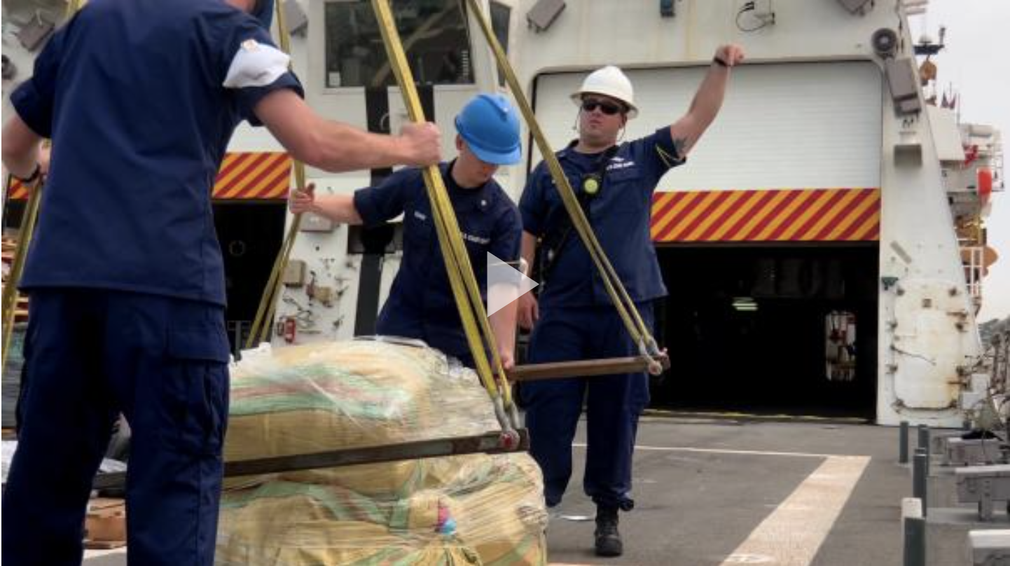 Coast Guard Cutter Bertholf members offload narcotics in San Diego