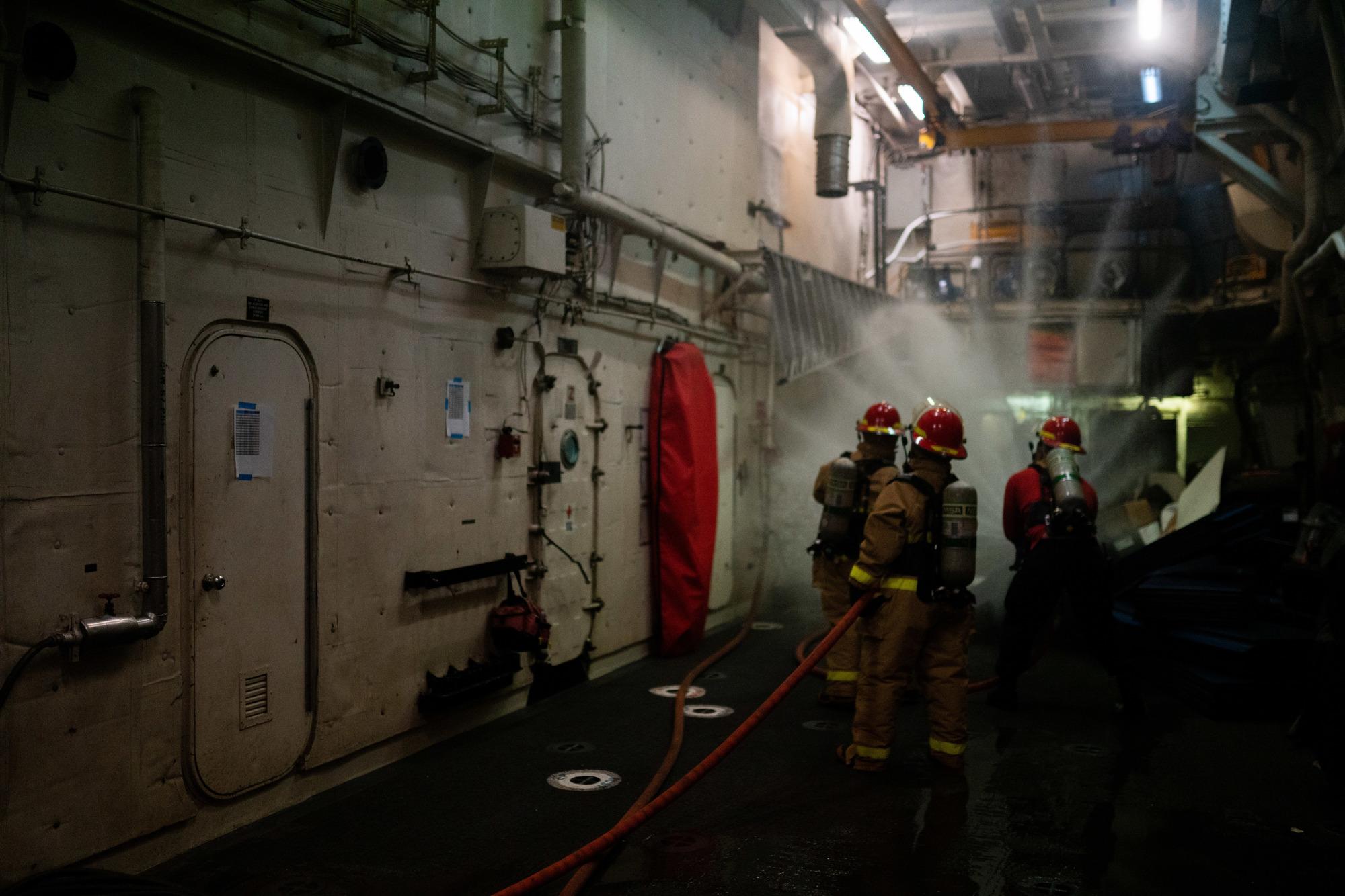 Photo: Crews battle fire onboard Coast Guard Cutter Waesche