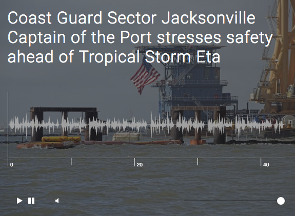 Coast Guard Sector Jacksonville Captain of the Port stresses safety ahead of Tropical Storm Eta