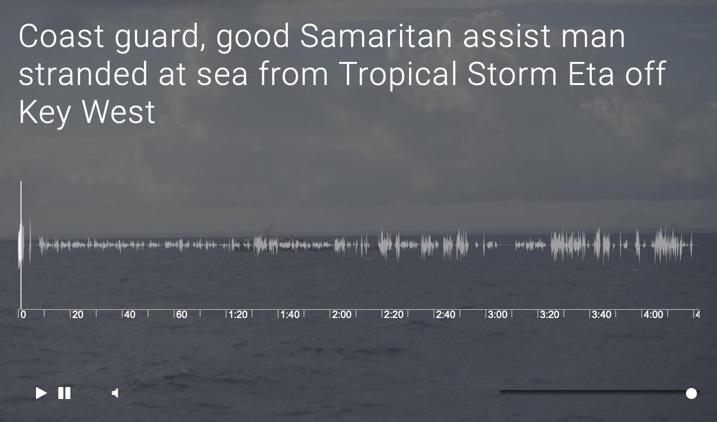 Coast guard, good Samaritan assist man stranded at sea from Tropical Storm Eta off Key West