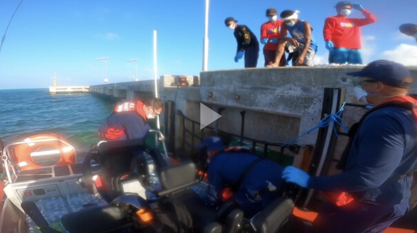 Broll: Coast Guard Cutter delivers emergency supplies to Palau following Typhoon Surigae