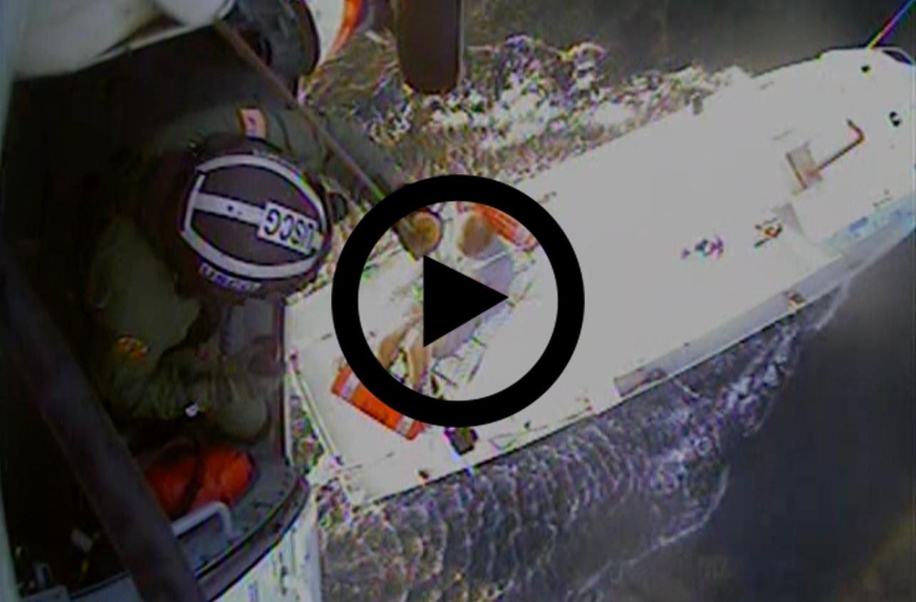 Link to video: Coast Guard medevacs mariner 17 miles offshore VA/NC state line