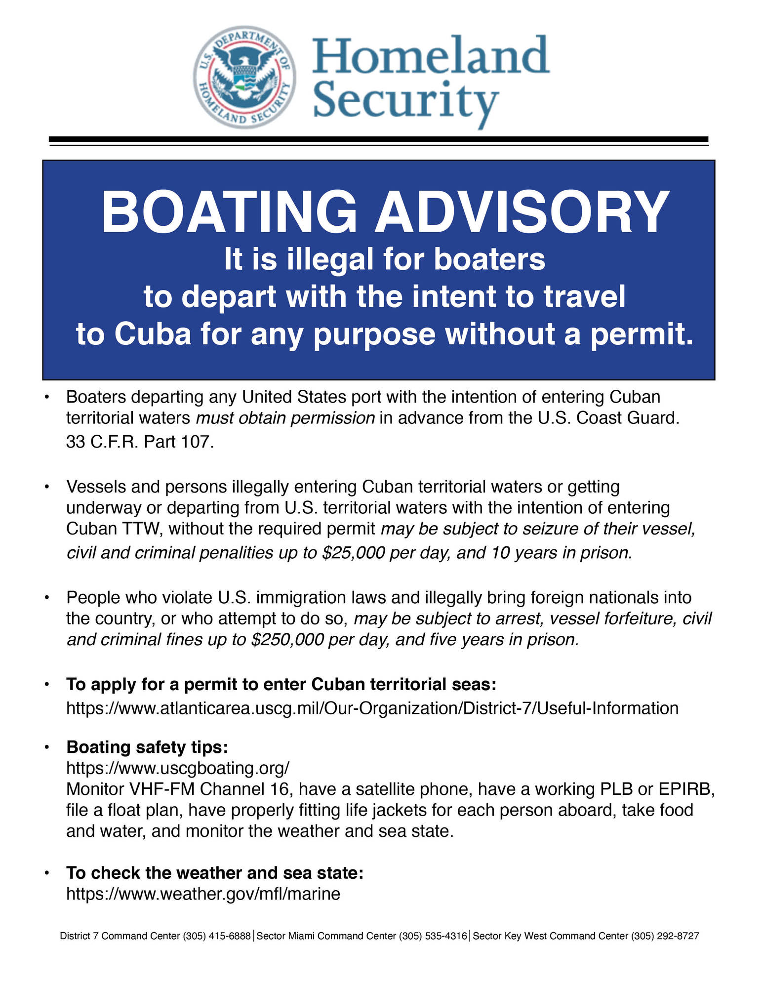 Boating Advisory for Cuban waters