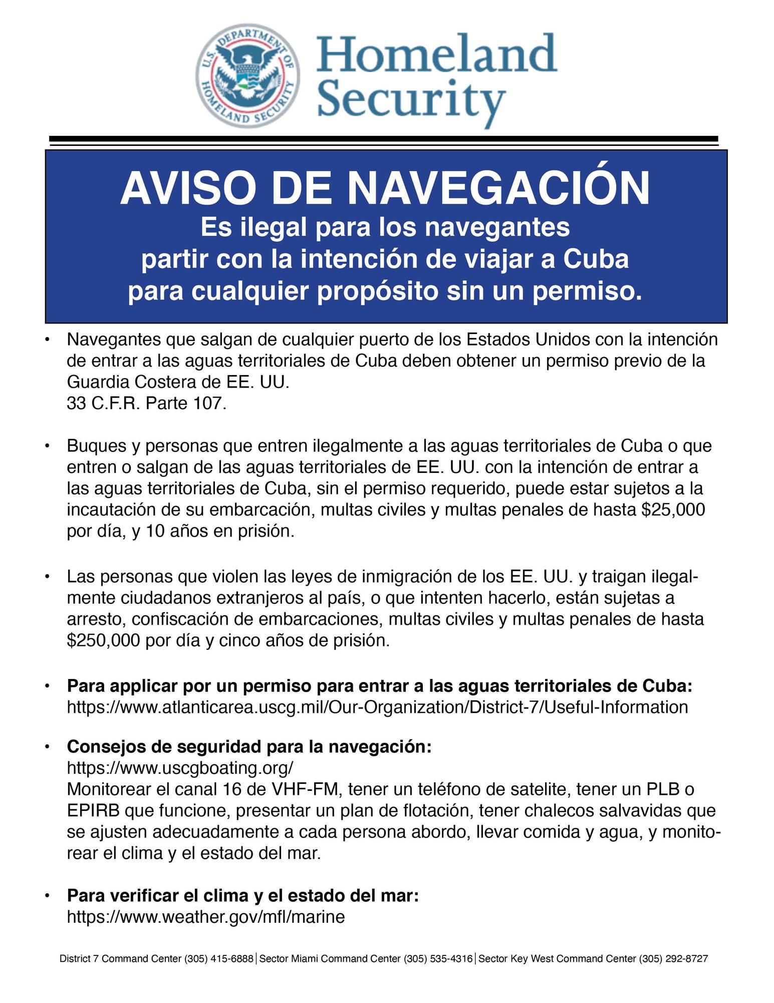 Spanish Version - Boating Advisory Cuban waters