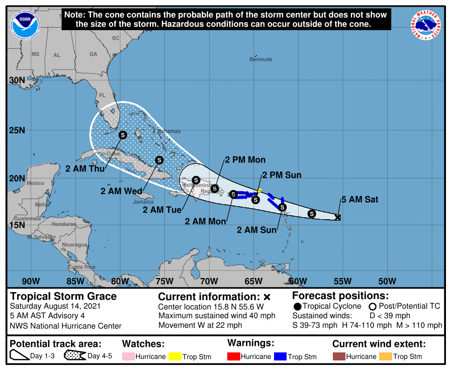 Tropical Storm Grace Projected Track 5.a.m. Aug. 14, 2021