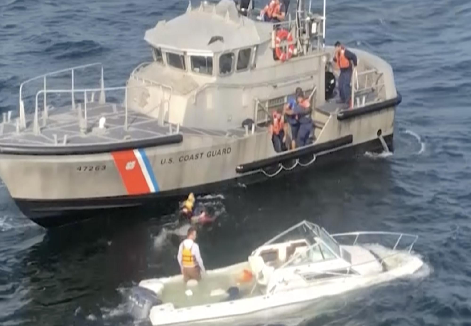 Coast Guard rescues 3 from sinking vessel near Long Brand, New Jersey