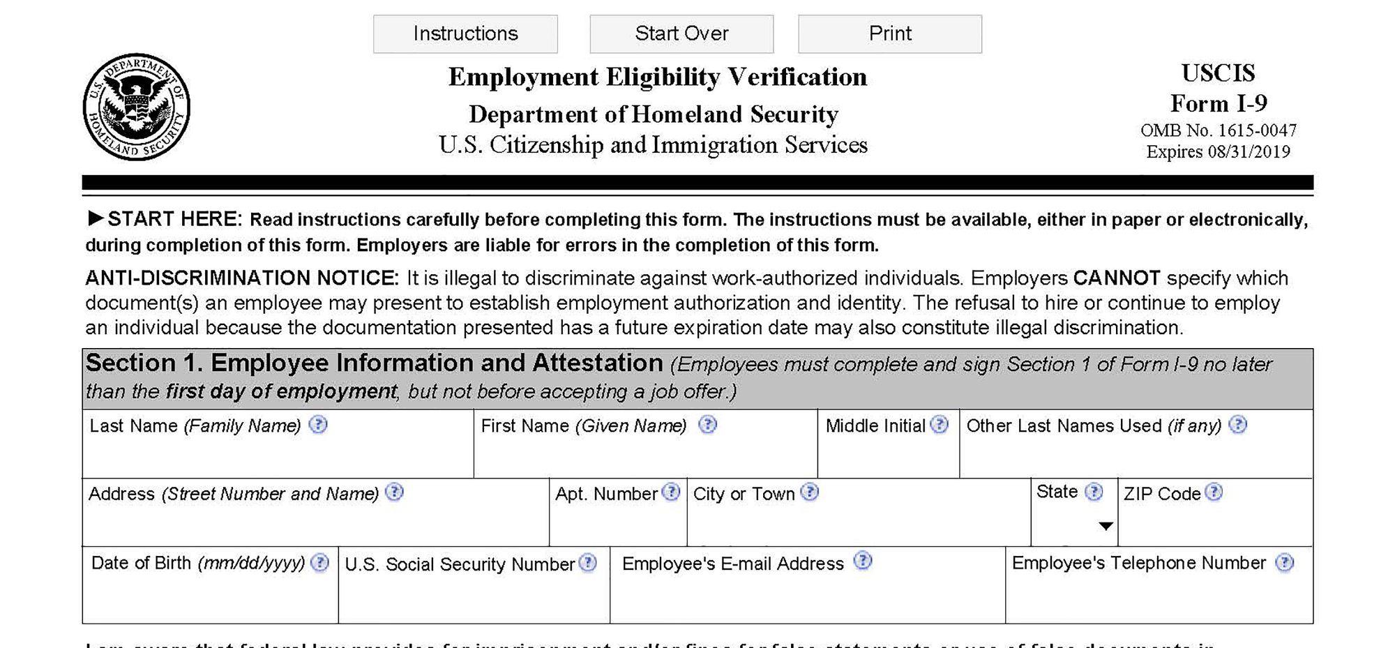 Use Form I-9 Dated 11/14/2016