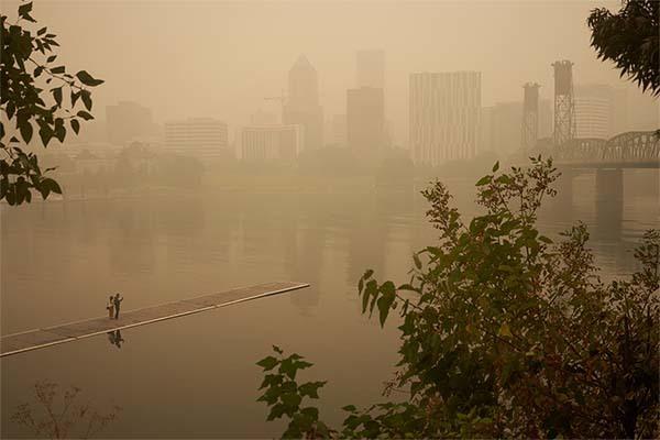 Smokey haze over Portland, Oregon