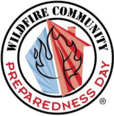 Wildfire Community Preparedness Day Logo: houses, trees, and flames.