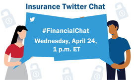 Two people holding word bubbles with Insurance Twitter Chat info: Wednesday, 4/24 at 1:00 PM EDT
