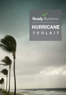 Cover of the Ready Business Hurricane Toolkit, palm trees blowing with grey clouds in background