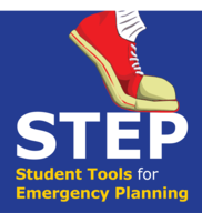 """STEP logo: shoe stepping on """"STEP"""" with """"Student Tools for Emergency Planning"""" underneath"""