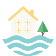 Graphic of water flooding in front of a house and tree