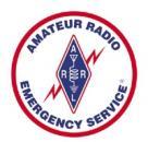 Amateur Radio Emergency Service logo with lightning strike and diamond.