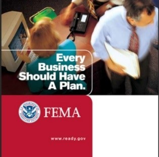 """Image with FEMA logo of business people working and the words, """"Every business should have a plan."""""""