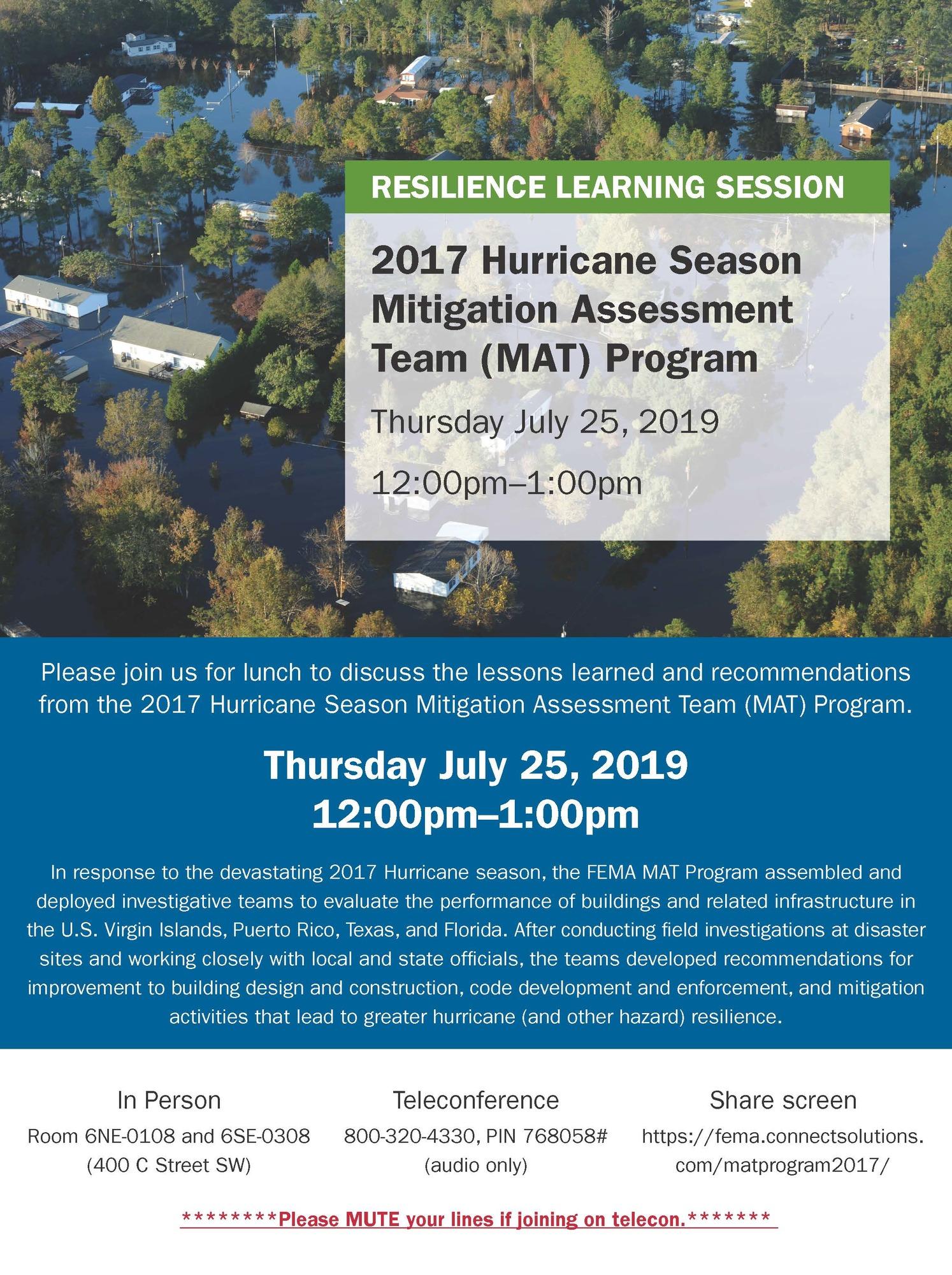 Resilience Learning Session: 2017 Hurricane Season Mitigation Assessment Team (MAT) Program