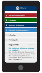 FEMA App open on a mobile phone