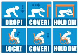 Image showing Drop, Cover, Hold On and person in wheel chair doing Lock, Cover, Hold On