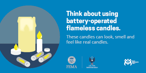 Picture of candles with the message Think about using battery-operated flamess candles. These candles can look, smell, and feel like real candles.