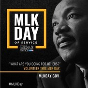 Picture of MLK with MLK Day of Service written aside of profile