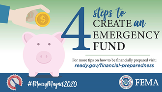 Image of a piggy bank with words stating 4 Steps to Create an Emergency Fund