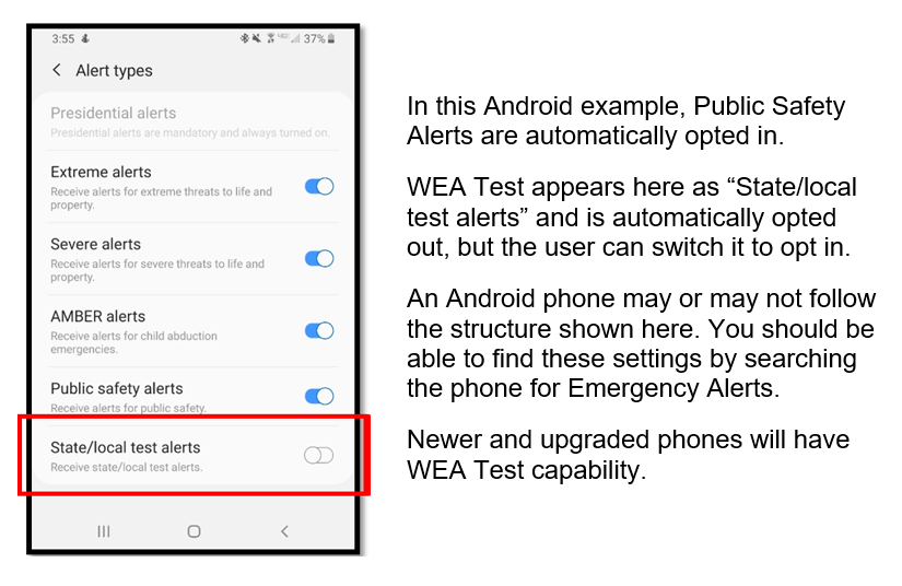 Android WEA Settings