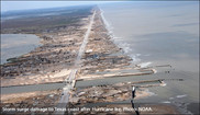 NOAA photo of storm surge damage to Texas coast after Hurricane Ike.