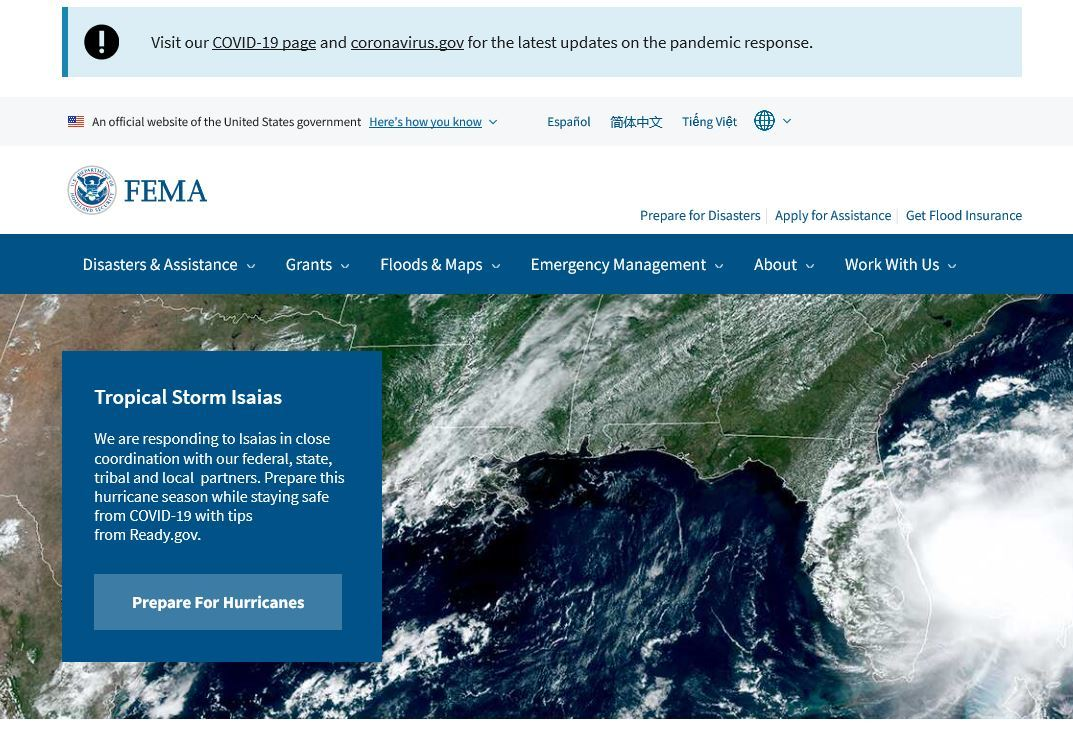 Header of FEMA.gov