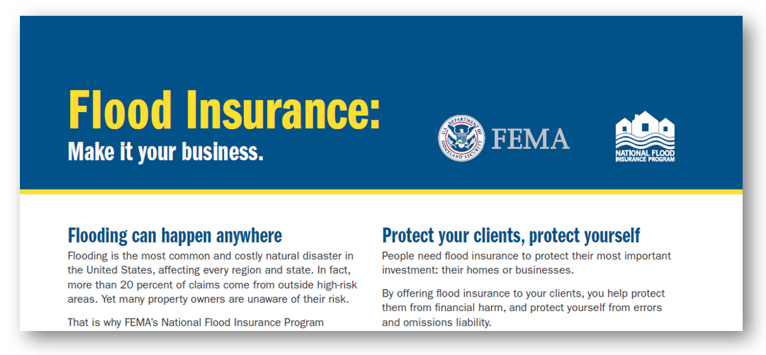 Flood Insurance Agent Fact Sheet Image Says Make It Your Business