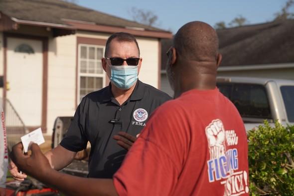 Administrator Gaynor speaks to a Hurricane Laura survivor in Lake Charles, Louisiana