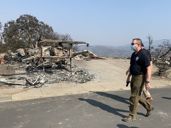 FEMA Administrator Pete Gaynor surveys wildfire damage in California