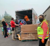 CERT Members unloading box truck