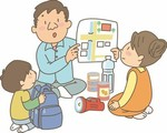 Father teaching kids about their preparedness plan