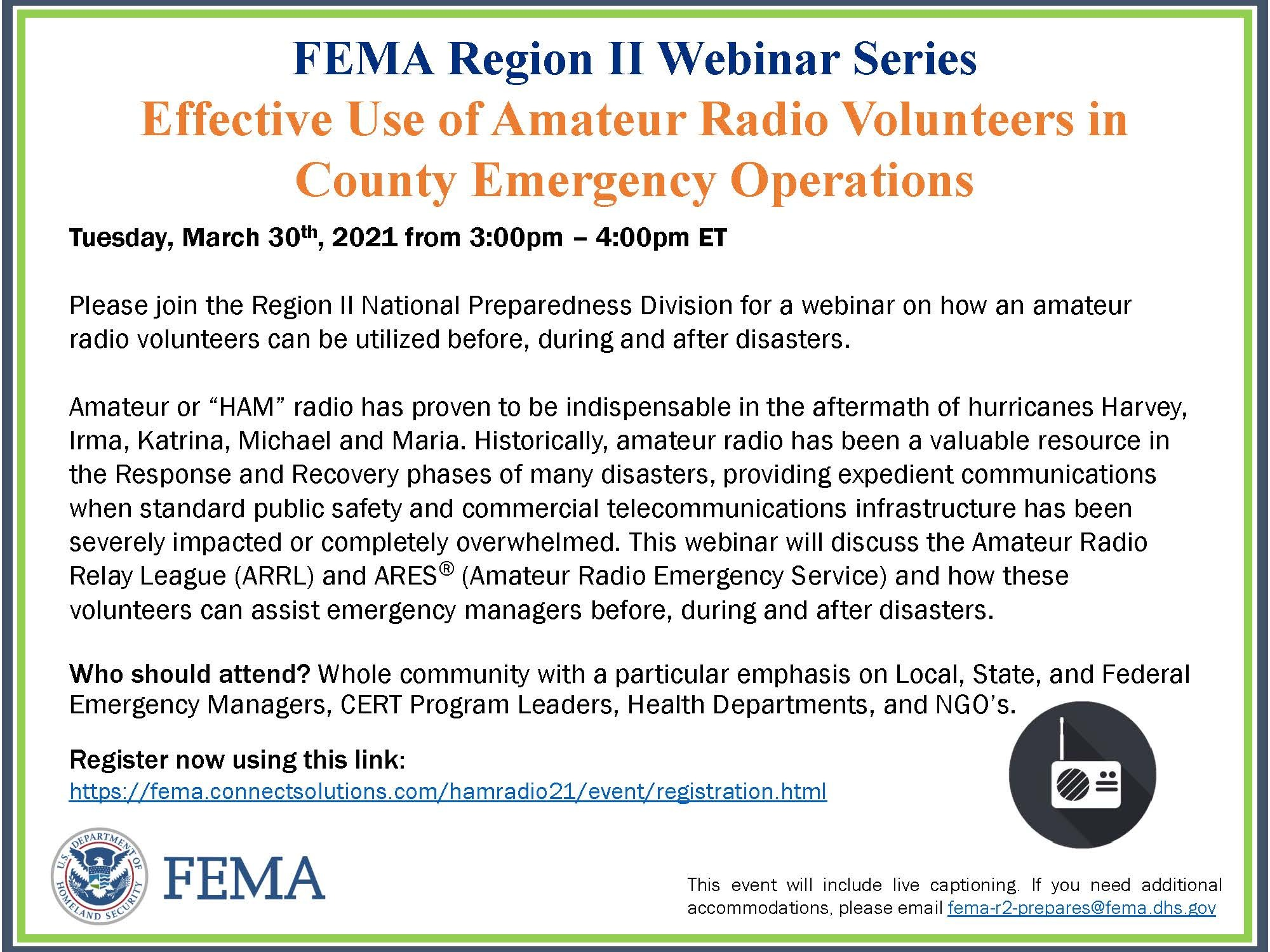 Effective Use of Amateur Radio Volunteers in County Emergency Operations