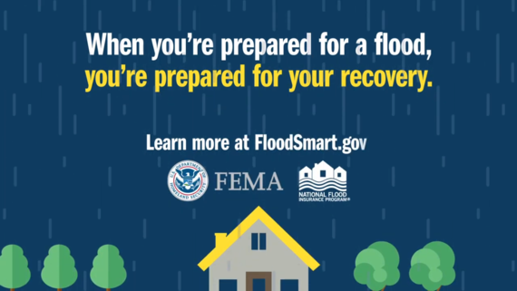 """Image of rain falling on home with FEMA and NFIP logo. Text says """"When you're prepared for a flood, you're prepared for your recovery."""""""