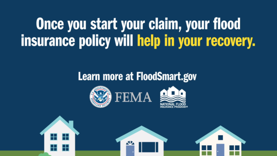 """Three homes with FEMA and NFIP logo. Text says, """"Once you start your claim, your flood insurance policy will help in your recovery."""""""