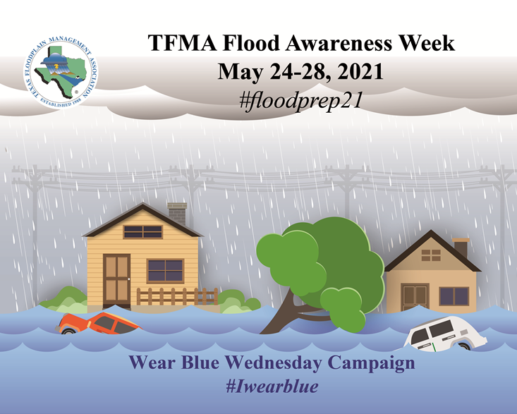 Imaged of rain falling on homes with water rising outside. Cars flooded. TFMA logo for Flood Awareness Week 2021.