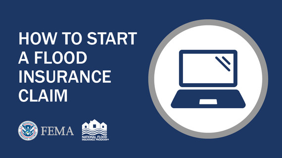 FEMA NFIP image white text on blue background with laptop icon says How to Start a Flood Insurance Claim