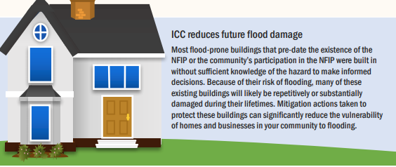 Shows home with language about FEMA NFIP Increased Cost of Compliance mitigation dollars