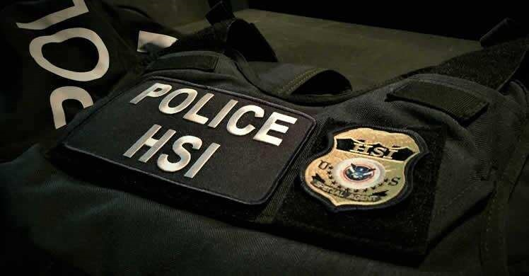 Stock image: Police HSI vest with HSI Special Agent badge