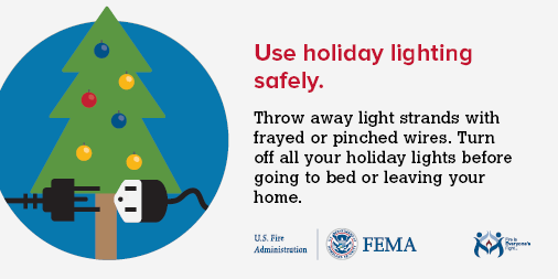 unplug holiday lights safety graphic