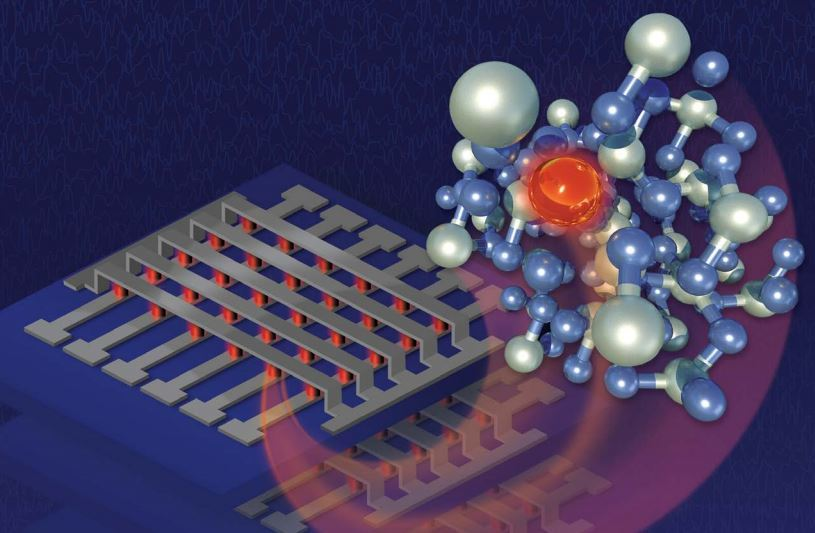 Illustration of a molecule next to a grid of electronics