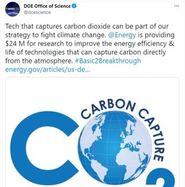 """Tweet about carbon dioxide research awards with an illustration saying """"CO2 Carbon Capture"""""""