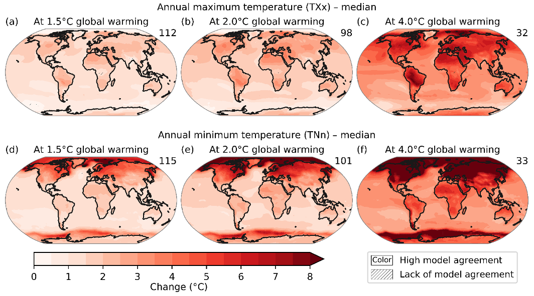 Image of six different maps of Earth at different levels of global warming, with red indicating rises in temperature