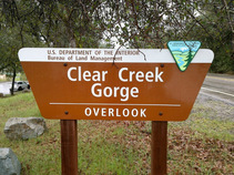 Clear Creek Gorge sign. Photo by BLM.